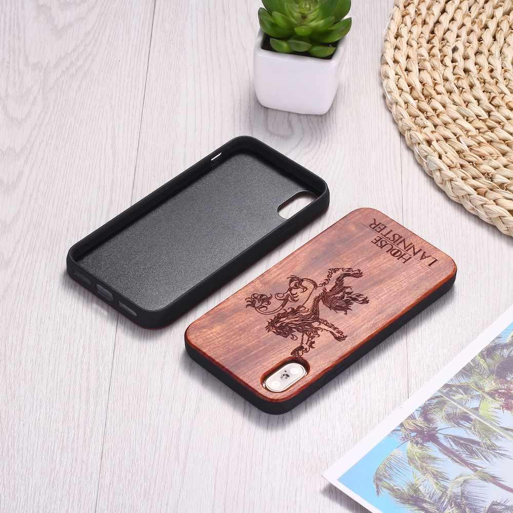 เกม Thrones Lannister สิงโตไม้แกะสลักโทรศัพท์กรณี Coque Funda สำหรับ iPhone 6 6S 6Plus 7 7Plus 8 8Plus XR X XS สูงสุด 11 Pro Max