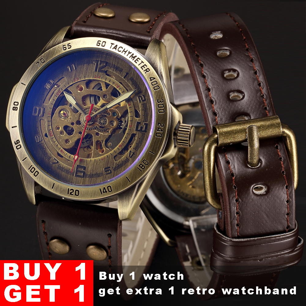 Skeleton Mechanical Watch Automatic Watch Men Steampunk Bronze Transparent Mens Automatic Mechanical Wrist Watches Clock For Man