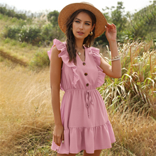 Women's Summer New Style Solid V-neck Ruffled Lace Dress Vintage Single-breasted Ladies Mini Dress