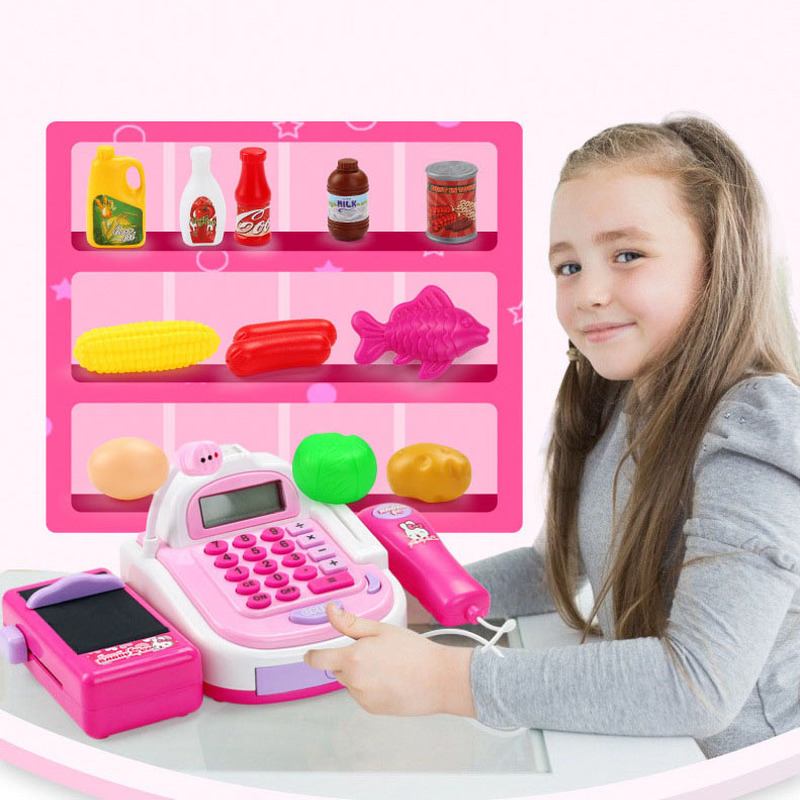Children's Cash Register Toy Children Ticket Office Box Simulation Educational Toys Girl Cash Baby Toys Store Cash Register Set
