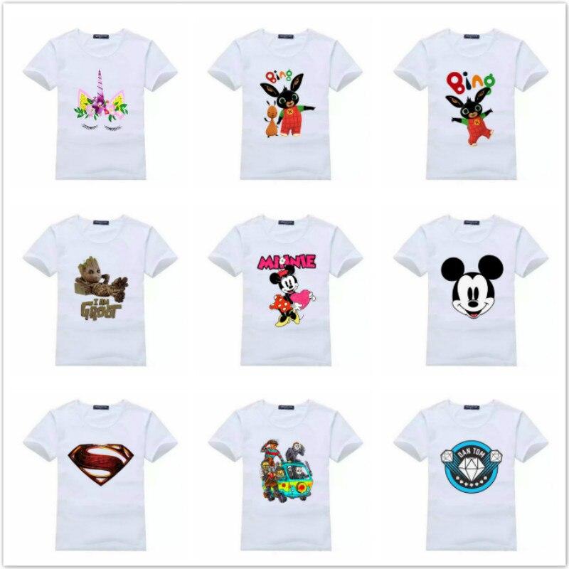 Summer Children Clothing Boy T Shirt Cartoon Anime Pattern Bing Rabbit Short Sleeve Tshirts Kid Girl Cotton White Shirt Tops Tee