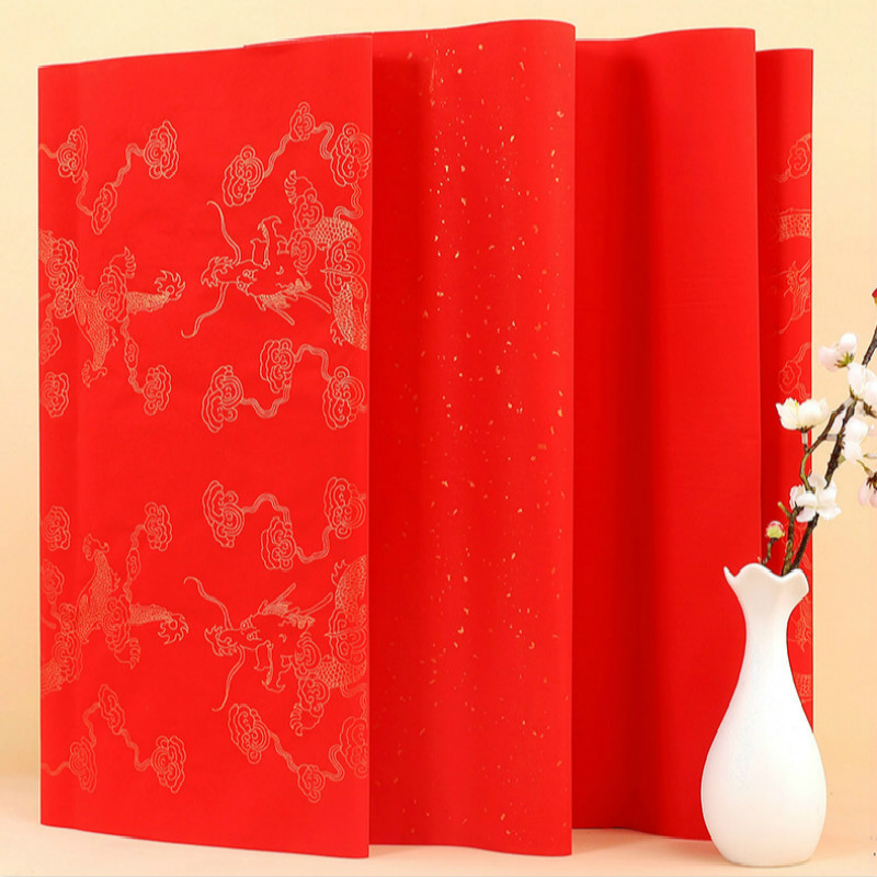 Chinese Spring Festival Couplets Red Xuan Paper For Lucky Money Envelope Paper Cutting Thicken Calligraphy Paper Red Xuan Paper