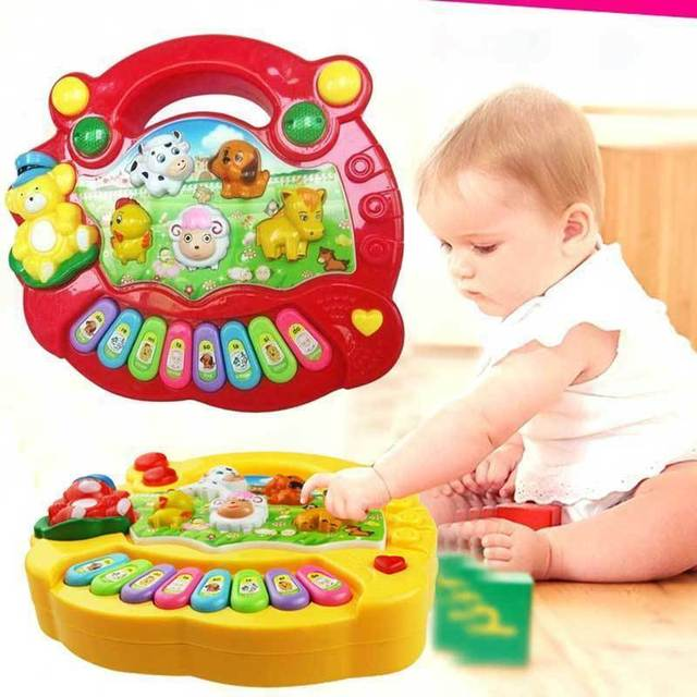 1 pc Children's animal farm piano music toy educational electronic organ baby playing instrument recognition ability red/yellow