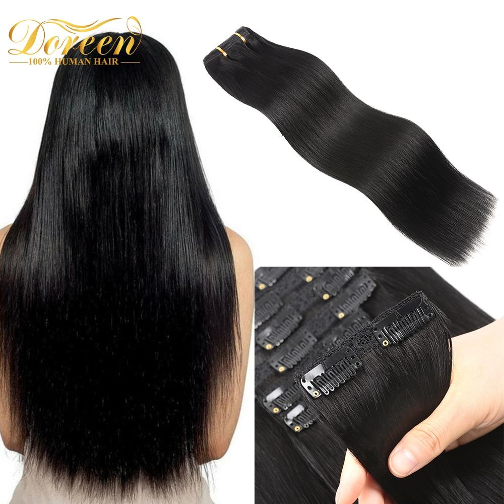 Doreen-extensiones de cabello brasileño Remy con Clip, 100% de cabello humano Real, peluca Natural, Clips de 120G, 14 a 22