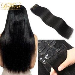 Doreen полная головка бразильская машина Remy наращивание волос на клипсе человеческие волосы 100% натуральные заколки для волос на 120 г 14 до 22
