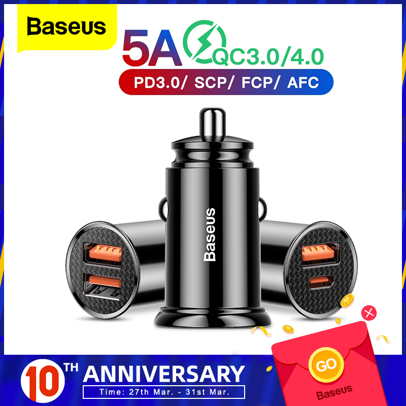 Baseus Quick Charge 4.0 3.0 USB Car Charger For IPhone Huawei Supercharge SCP QC4.0 QC3.0 QC Fast PD USB C Car Charging Charger