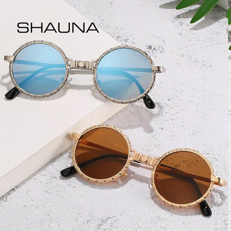 SHAUNA Vintage Punk Sunglasses Women Retro Metal Round Sun Glasses Men UV400