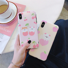 Pink matte silicone soft case on for coque iphone 6s 6 s 8 7 plus xr x xs max cover cherry bear phone cases funda