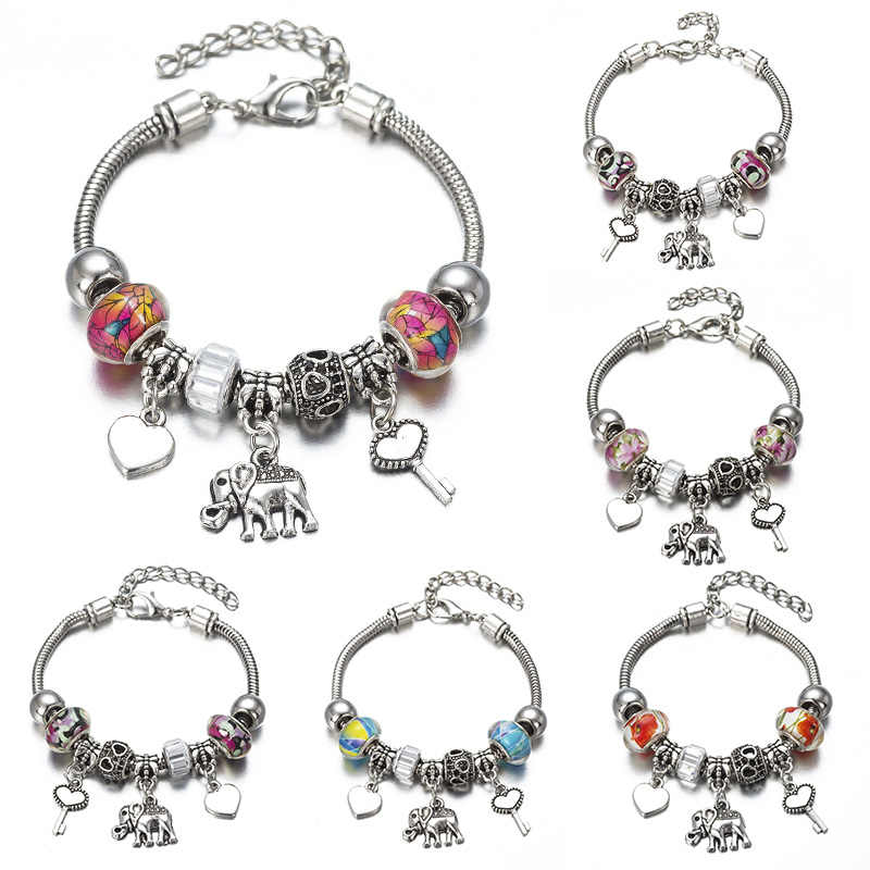 DIY Charm  Bracelet Romantic Love Key and Elephant and Life Tree Lock Crystal Bead Bracelet Women Jewelry Love Gift FF01