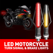 1X Motorcycle LED Turn Signal Lights Motorbike Indicator Lamps 3020 SMD LED DRL Moto Flasher Tail Brake Bulbs White Yellow Red(China)