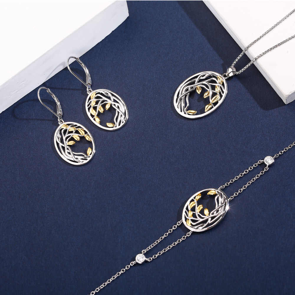 SA SILVERAGE Jewelry 925 Sterling Silver Tree of Life Pendant Necklaces Women Gold Color Silver Long Chain Necklace Chokers