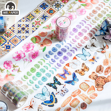 Mr.Paper Butterfly Peony Colorful Insect Cut off Rule Line Bullet Journaling Washi Tape Scrapbooking DIY Decoration Masking Tape
