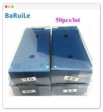 Baruile 50pcs 방수 접착 스티커 아이폰 7 6 s 플러스 8x8 p xs 최대 3 m pre cut gule lcd 화면 프레임 테이프 수리 부품