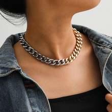 Ожерелье чокер из металлической цепи цвет под серебро