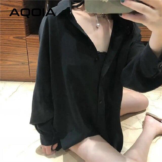 AQOIA Streetwear Long Sleeve Chiffon Plus Size Black White Women Shirt Button Up Loose Ladies Blouses 2020 Female Long Shirts 6