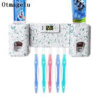 Multifunct Bad zubehör Uhr Automatische Zahnpasta Spender Zahnbürste Halter mit Kombination Set Zahnpasta Squeezer