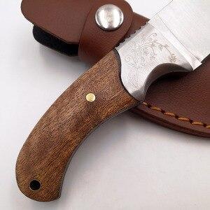 """Image 4 - Couteau de chasse tactique 8 """", manche en bois en 440, couteaux de poche de survie, pour le Camping, couteau droit, pour le sauvetage en plein air, outils EDC"""