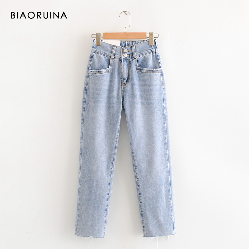 BIAORUINA Women's Blue Washing Bleached Fashion Jeans Tassels Female High Waist Casual Straight Jeans Ankle Length