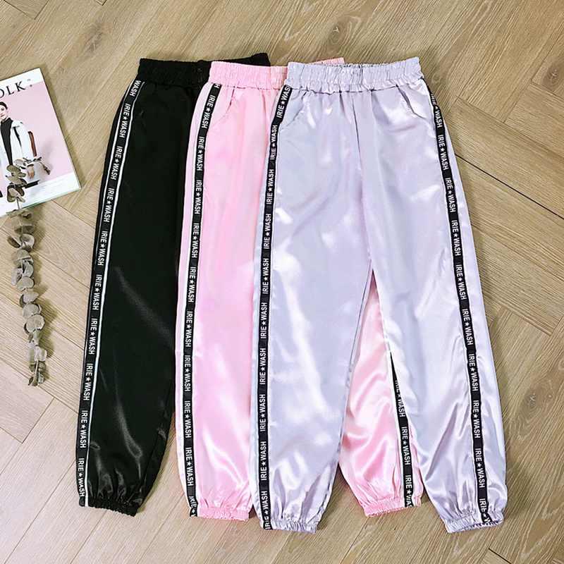 Moda nuevo gran bolsillo satén resaltado Harem Pantalones mujer brillante deporte cinta pantalones BF Harajuku Joggers Mujer Pantalones deportivos