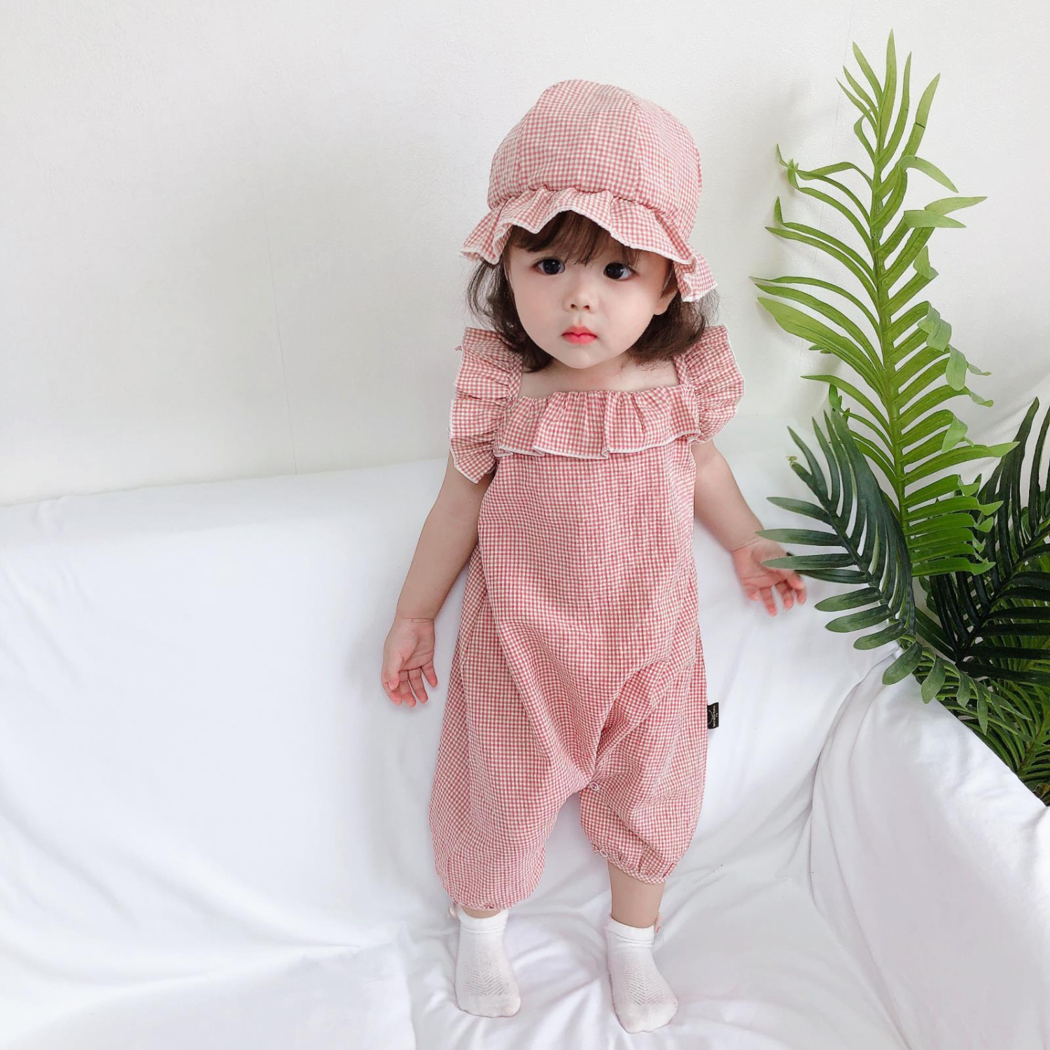 New Cute Jumpsuit Rompers Ruffle Summer Cotton Princess Toddler Clothes Sunsuit Beach Plaid Lovely Infant Newborn Baby Outfits