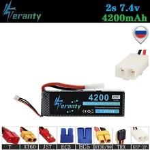 Tamiya Connectors 2P 7.4V 4200mAh 25C MAX 35C 2S LiPo Battery for RC Drone Car Robots Boat 2S 4200mah 7.4V Rechargeable Battery