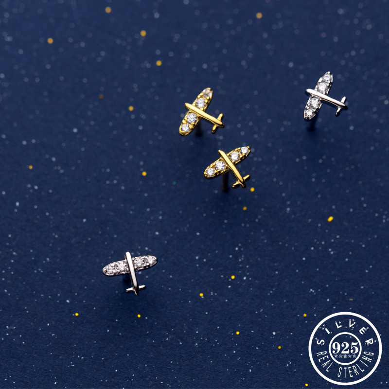 925 Sterling Silver Small Airplane Shape with Cubic Zirconia Stone Earings Korean Gold Color Plated Ear Studs Earrings for Women