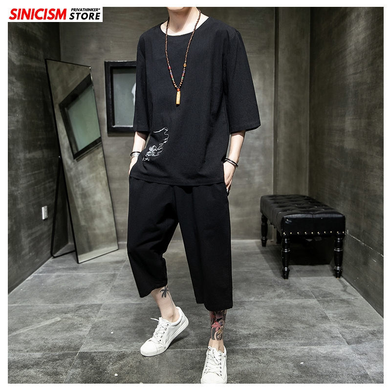 Sinicism Store Men's Sets Chinese Style Summer Loose Tracksuit Mens 2020 Casual Short Sleeve Suit Male 2 Piece Sets Clothing 5XL