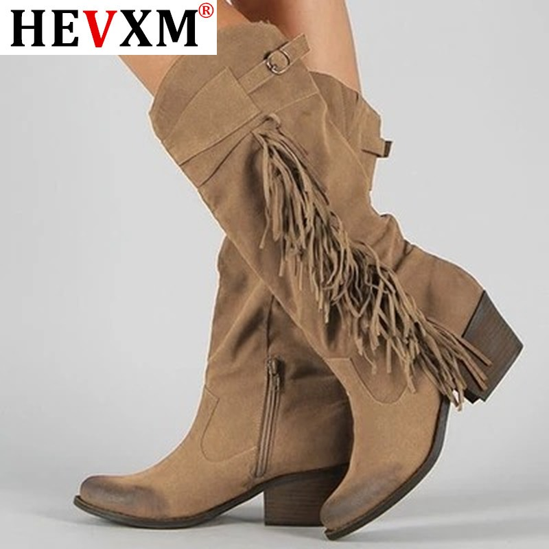 Women Boots Classic Tassel Western Cowboy Boots Autumn Women High Heels Boots Platform Sexy Ladies Black Pumps Boots Women
