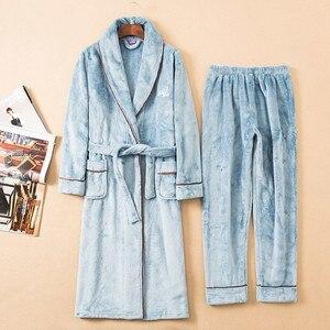 Image 2 - Зимний утепленный пижамный комплект, женский халат, фланелевая одежда для сна, 2 предмета, халат и Пижамный костюм, кимоно для влюбленных, платье, Коралловая Флисовая теплая домашняя одежда