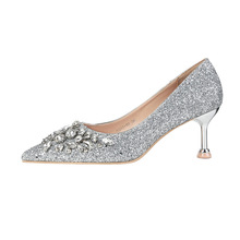 Fashion diamond fashion women shoes crystal ladies party pumps beautiful high heel quality footwear woman