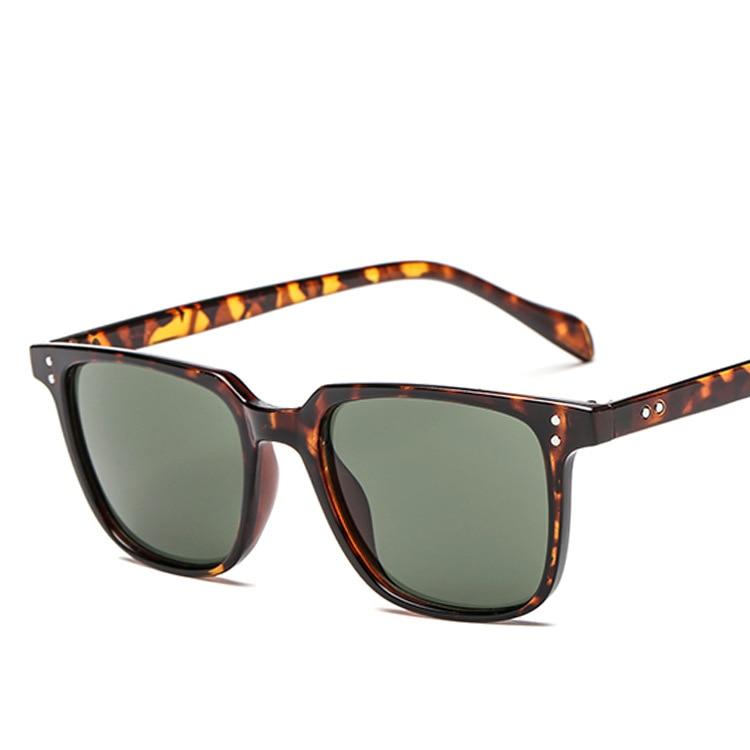 ZXWLYXGX Brand Design Sunglasses Men Driver Shades Male Vintage Sun Glasses Men Square Frame Mirror Summer UV400 Oculos De Sol