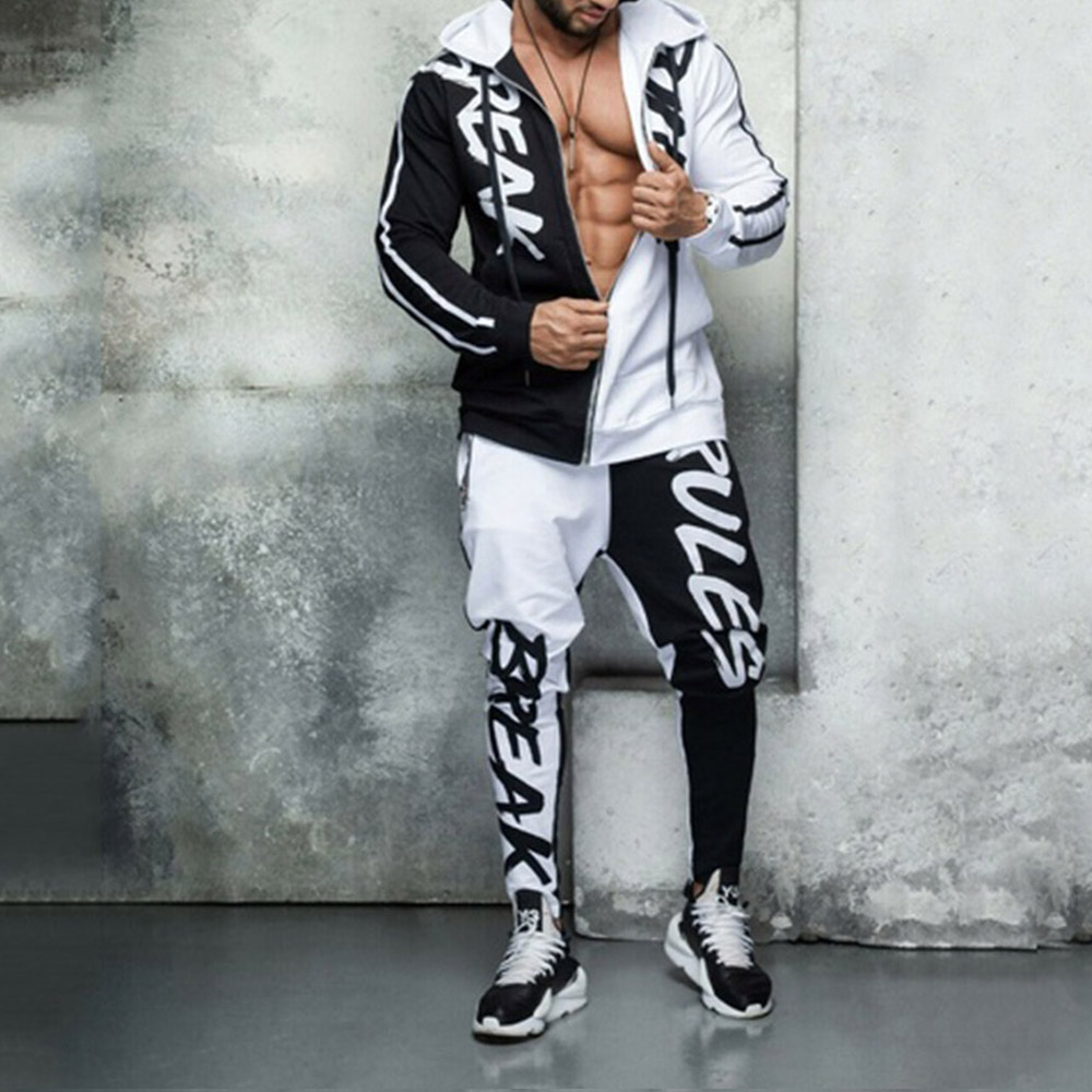 Mens Hip Hop Sports Set Men Slim Casual Gyms Letter Printed Tracksuit Zipper Sweatshirts + Pencil Pants 2 Pieces Streetwear