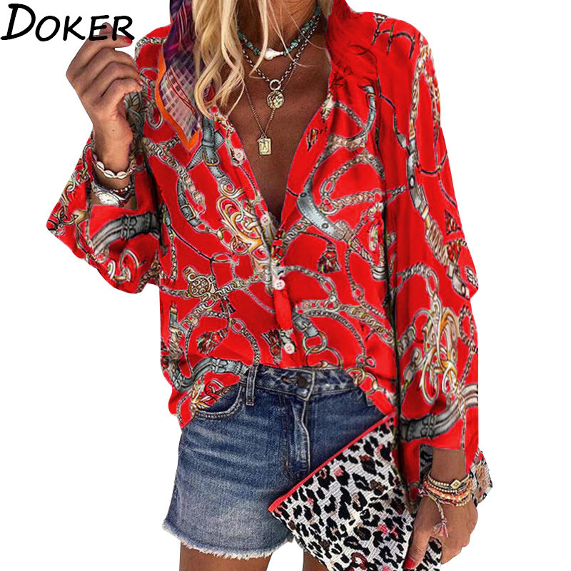 2020 New Design Plus Size Women Blouse V-neck Long Sleeve Chains Print Loose casual Shirts Womens Tops And Blouses(China)