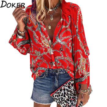 2020 nowy projekt Plus rozmiar kobiety bluzka V-neck z długim rękawem łańcuchy drukuj luźne koszule na co dzień damskie topy i bluzki tanie i dobre opinie doker Poliester REGULAR WOMEN Przycisk Pełna Suknem Women Blouse S-M-L-XL-2XL-3XL-4XL-5XL Women Girls Ladies Female Feminino