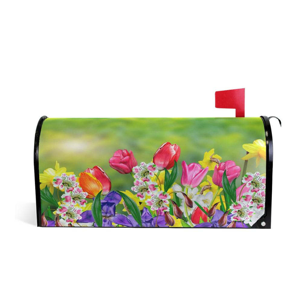 Spring Flowers Daffodils And Tulips Magnetic Mailbox Cover Custom Decorative Mail Box Covers