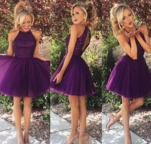 Sexy Little Purple Short Prom Party Gowns Halter Backless Shiny Sequins Juniors Empire Homecoming Dress for Club Wear