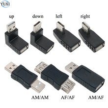 YuXi Left/Right/UP/Down Angle 90 Degree USB 2.0 Male 90 180 Angled USB Female to Male Adapter Black Connector For Laptop PC 180 degree up