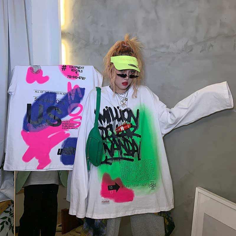 NiceMix ヒップホッピング落書き長袖 tシャツ女性のゆったり BF と怠惰な春と秋 tシャツ