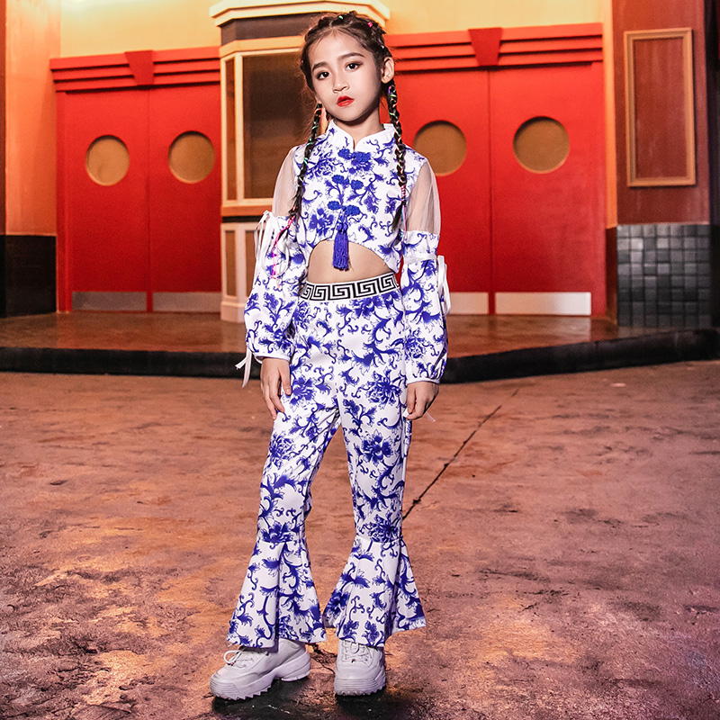 New Chinese Style Jazz Dance Costumes For Girls Blue And White Porcelain Performance Costumes Hip Hop Kids Stage Wear VDB1088