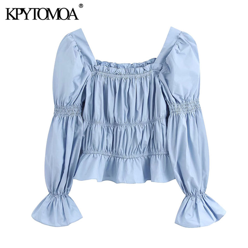 KPYTOMOA Women 2020 Sweet Fashion Ruffled Pleated Blouses Vintage Square Collar Long Slee Female Shirts Blusas Mujer Chic Tops