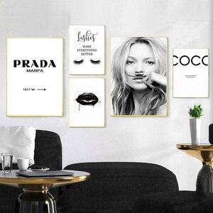 Image 1 - موضة ملصق الرموش الشفاه يشكلون قماش اللوحة أسود أبيض الملصقات و يطبع الشمال صور فنية للجدران لغرفة المعيشة