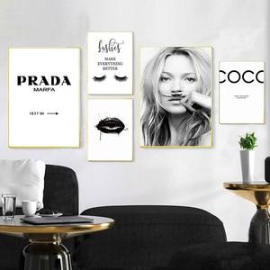 Image 1 - Modny plakat rzęsy usta tworzą obraz na płótnie czarne białe plakaty i druki Nordic Wall Art zdjęcia do salonu