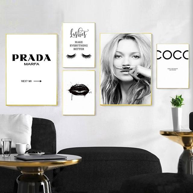 Modny plakat rzęsy usta tworzą obraz na płótnie czarne białe plakaty i druki Nordic Wall Art zdjęcia do salonu