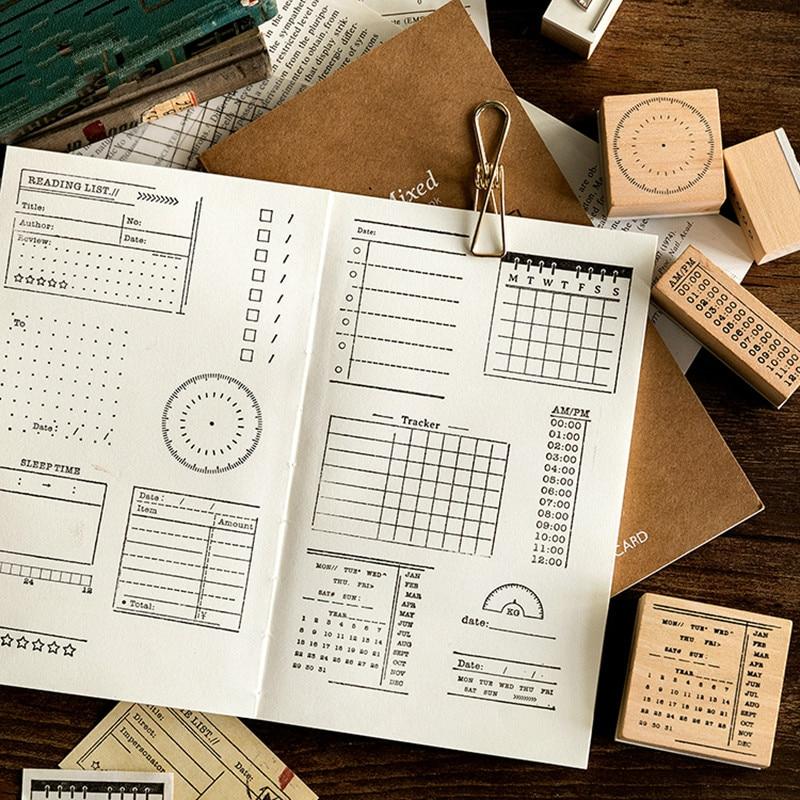Vintage Record Memo List Time Planner Stamp DIY Wooden Rubber Stamps For Scrapbooking Stationery Scrapbooking Standard Stamp