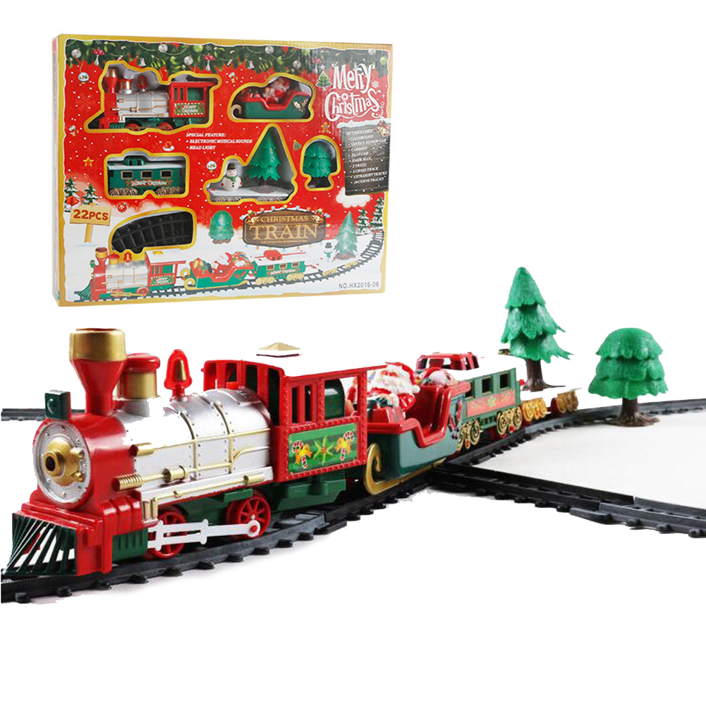 Classic Durable Model Train Toy Christmas RC Train Gameplay Train with Head Light Long Track Whistle Music for Party Children