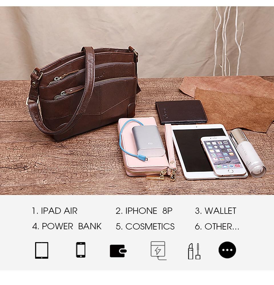 Cobbler Legend Multi Pockets Vintage Genuine Leather Bag Female Small Women Handbags Bags For Women 2019 Shoulder Crossbody Bag