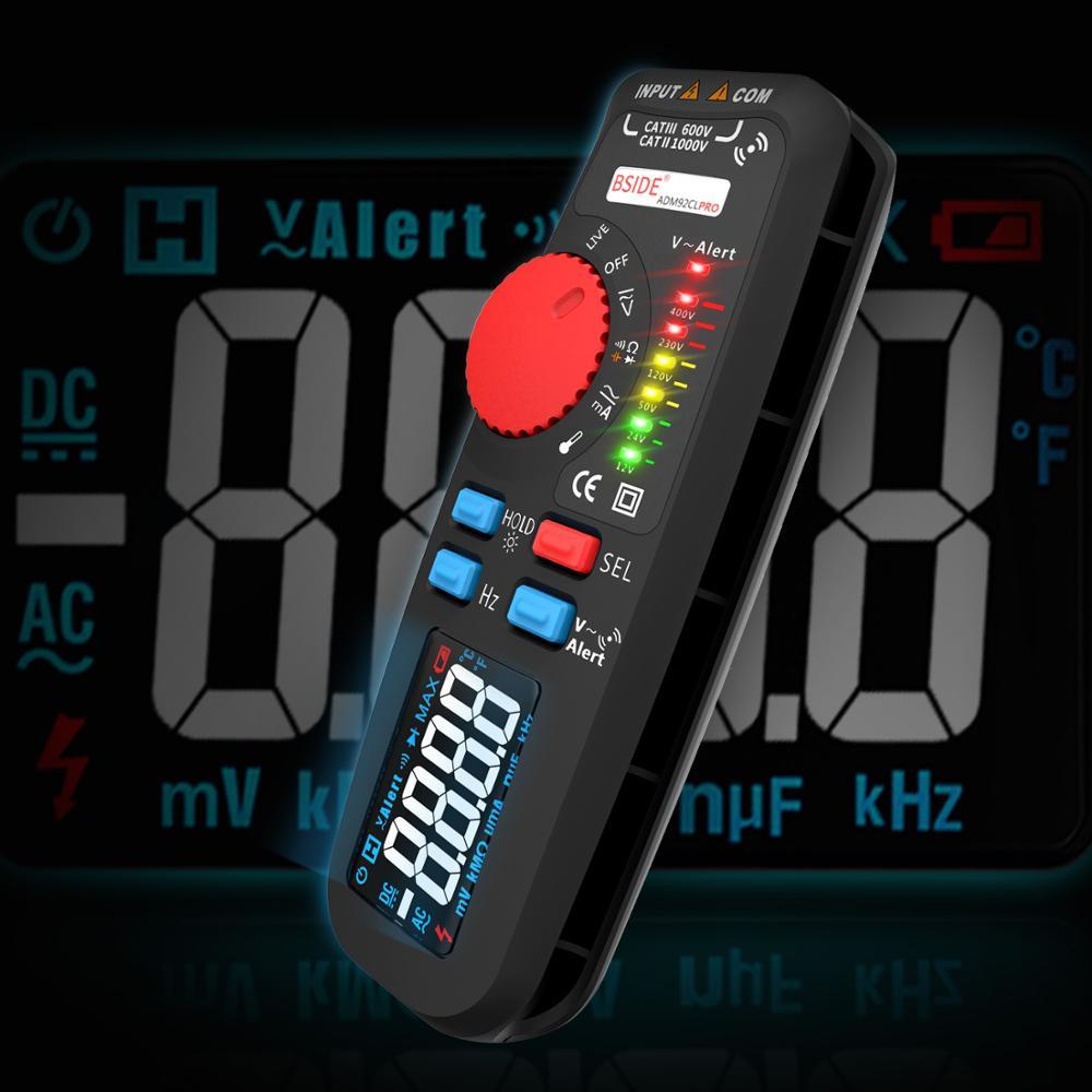 BSIDE Color Display Voltmeter 3 Color 6 Lights Auto Range Voltage Indicator True RMS Digital Multimeter Multimetro NCV Hz Tester