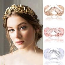 Corona de fiesta de boda de hoja de olivo de diosa romana griega, Tiara nupcial, accesorios de Aro para el pelo de novia, goma para el pelo con incrustación de joyería 903
