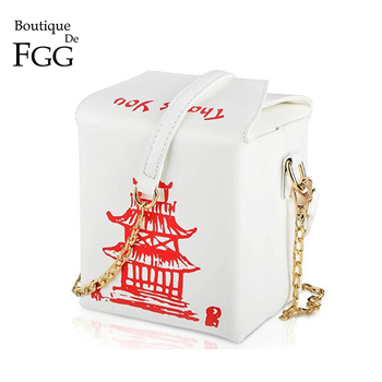 Boutique De FGG Chinese Takeout Box Purse Tower Print Ladies Handbag Novelty Girl Shoulder Bag Women Messenger Crossbody Bag novelty flamingo shaped crossbody bag