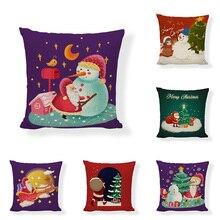Christmas gift Pillow sofa cushion set Santa snowman pattern pillowcase cotton linen home seat car cushion christmas decoration snowman pattern 3pcs toilet seat cushion cover set